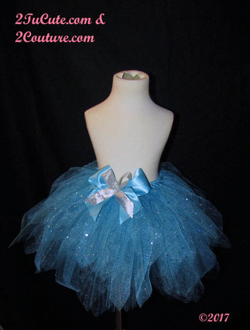 Children's Shimmer and Bling Turquoise Couture Skirt