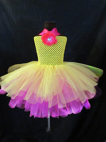 Shocking Pink and Vibrant Yellow Dress