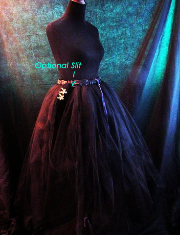 Black Flowing Tulle Skirt