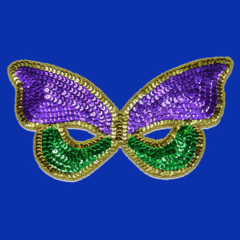 Sequin Mardi Gras Iron On Mask