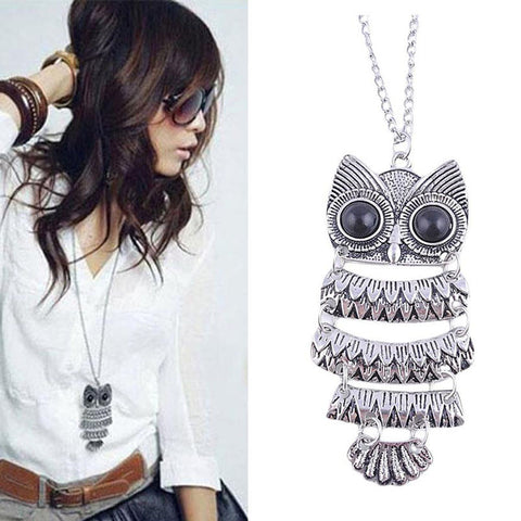 Antique Silver Owl Pendant Sweater Necklace