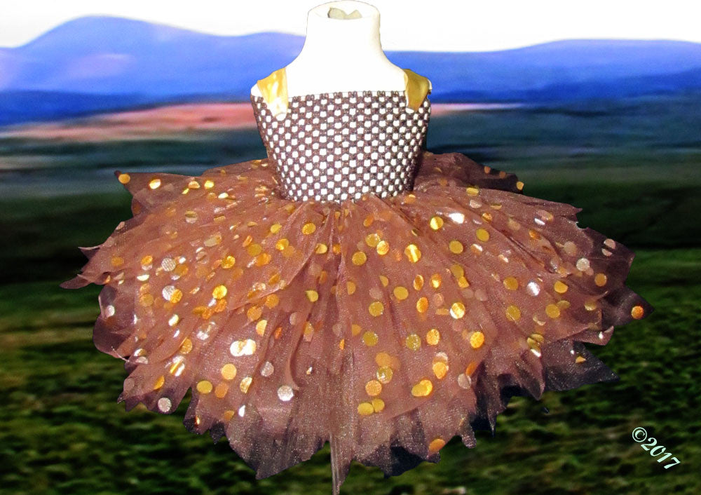 Couture Chocolate and Gold Polka Dot Tutu Dress