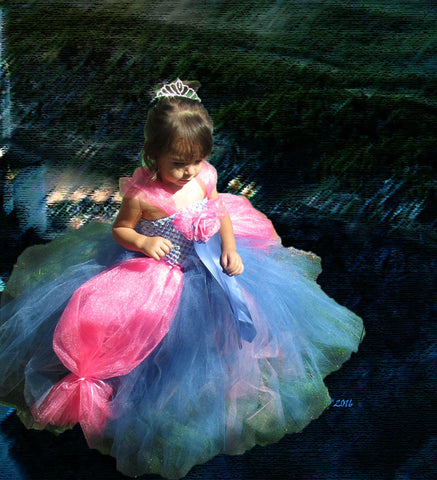Bubble Gum and Smoke Blue Princess Dress