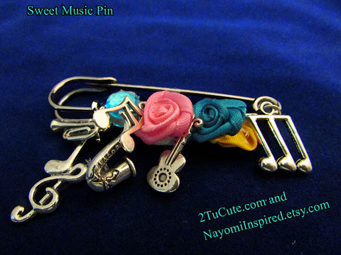Music Fashion Brooch or Pin