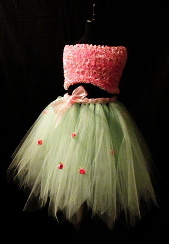 Mint and Pink Flowered Tutu