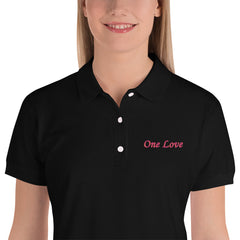 One love Embroidered Women's Polo Shirt