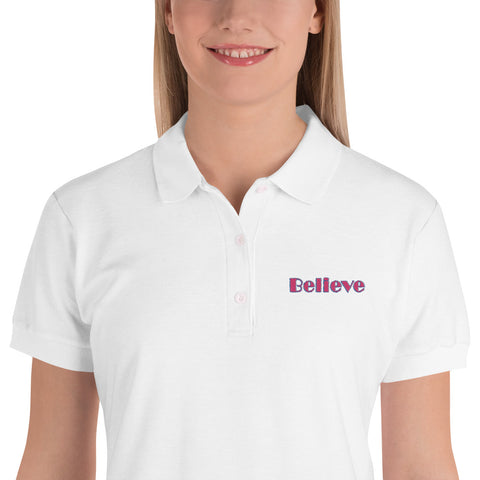 Believe Embroidered Women's Polo Shirt