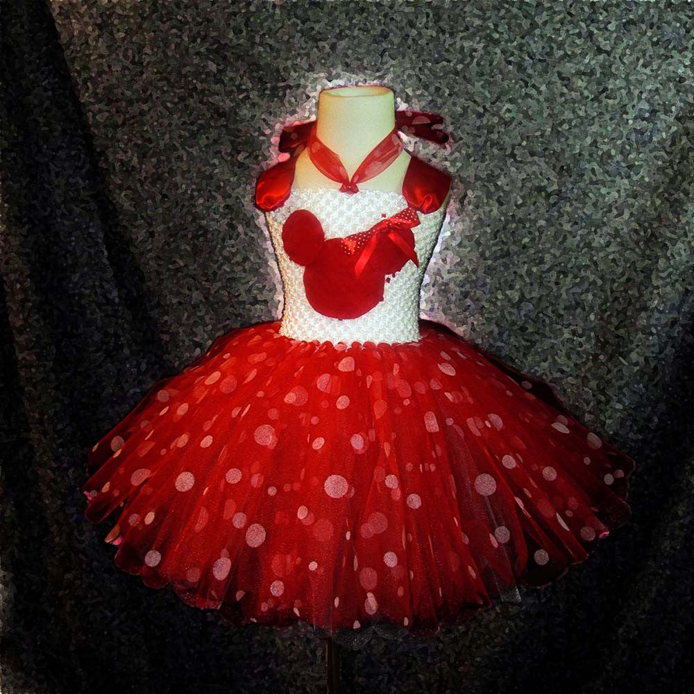 Larger Sizes Red Polka Dot Minnie Mouse Themed Tutu