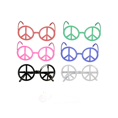 LUNETTES PEACE AND LOVE COULEURS ASSORTIES SANS VERRES
