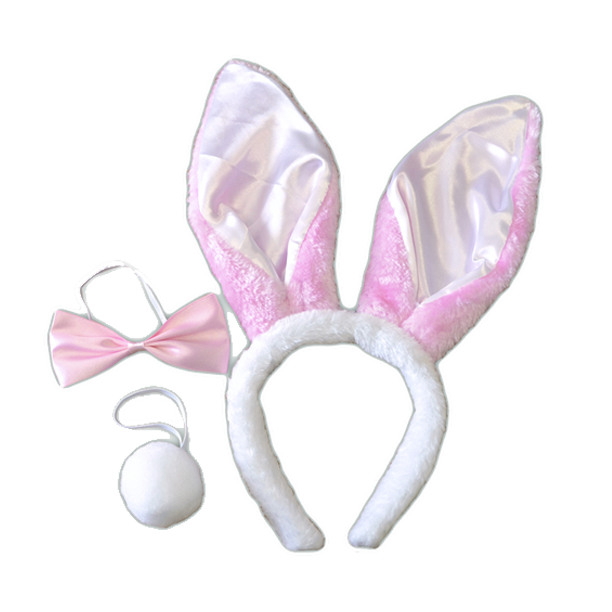 SET LAPIN BLANC ET ROSE (OREILLES+QUEUE+ NOEUD) ASSORTIS