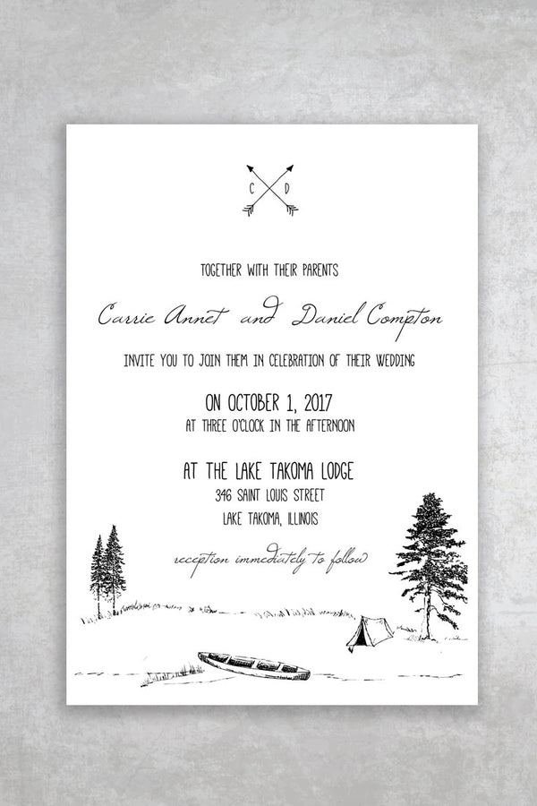 Camp Wilde Printable Wedding Invitation