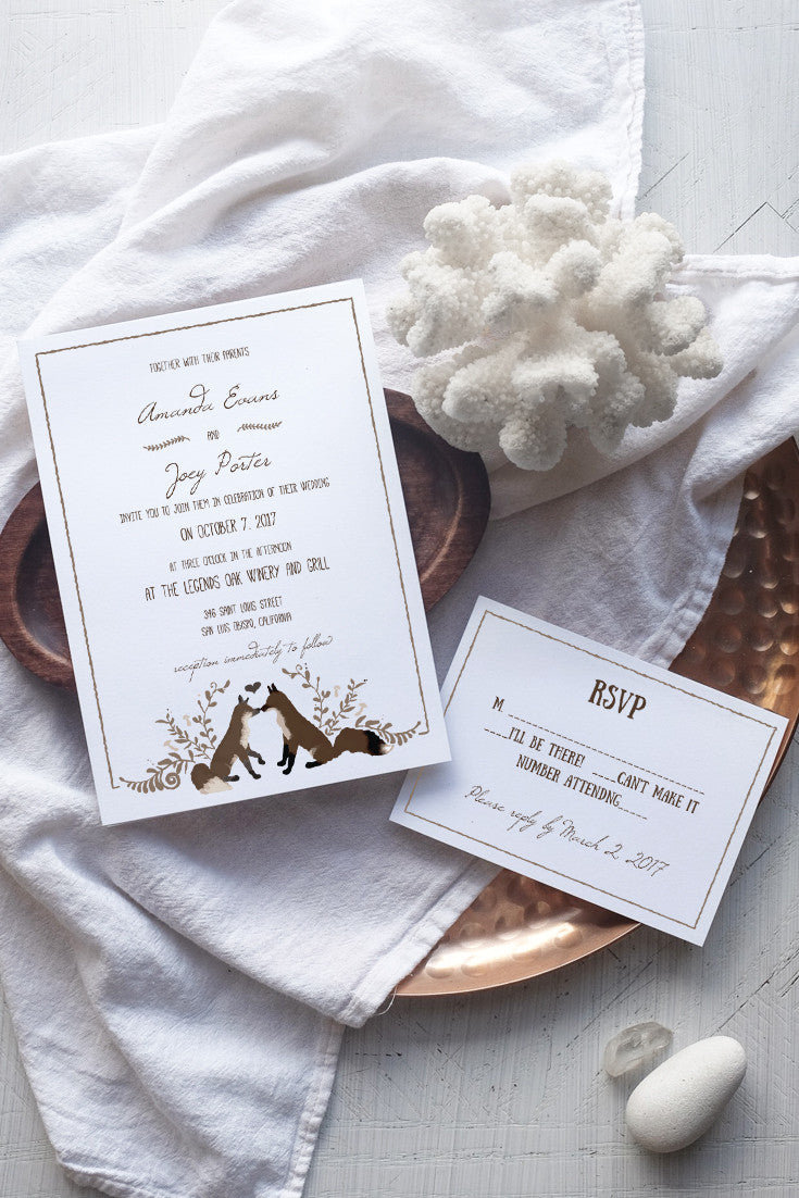 Foxy Wedding Invitation Template