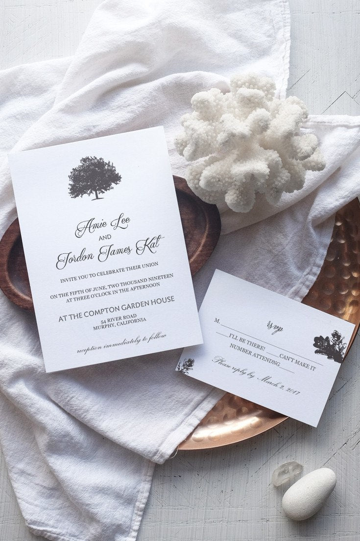 Tree Love Printable Wedding Invitation Template - Alchemie Press