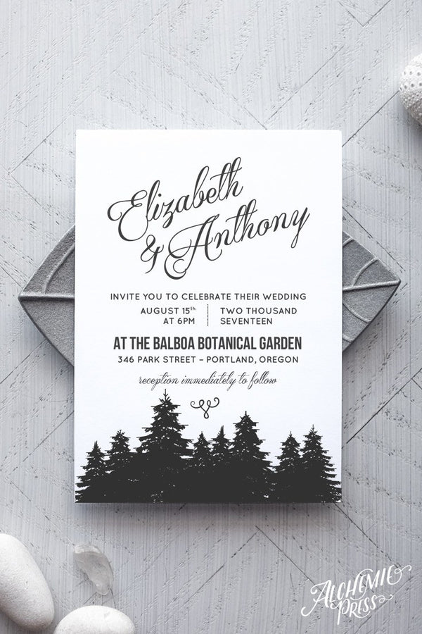 Printable Rustic Wedding Invitation Template -  Cambria - by alchemiepress.com