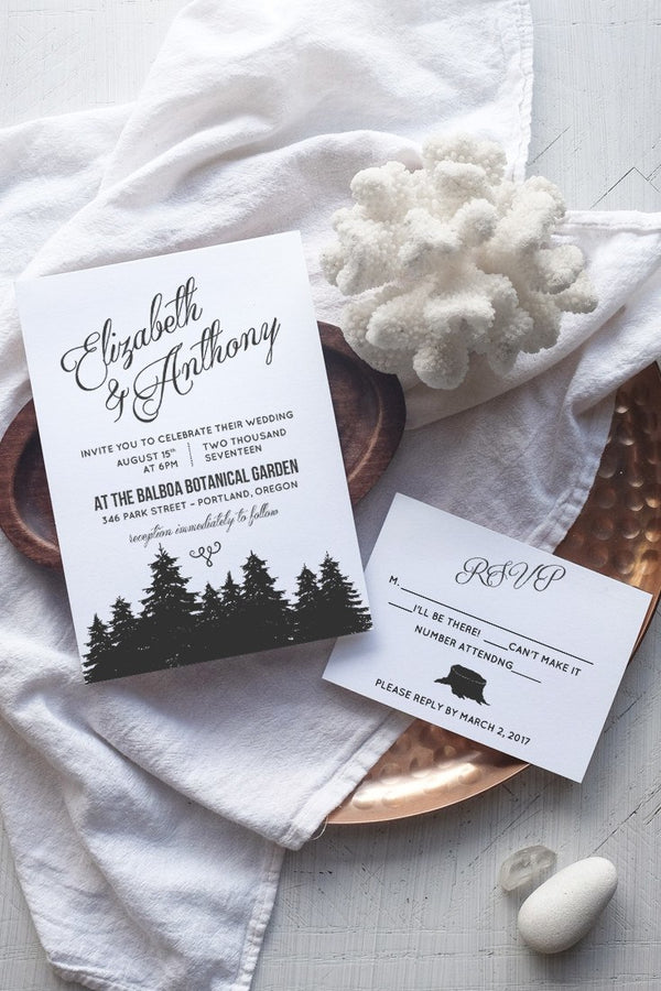 DIY Rustic Wedding Invitation Template - Cambria - by alchemiepress.com