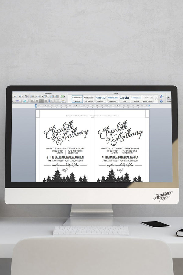 Microsoft Word Invitation Template - Cambria - by alchemiepress.com