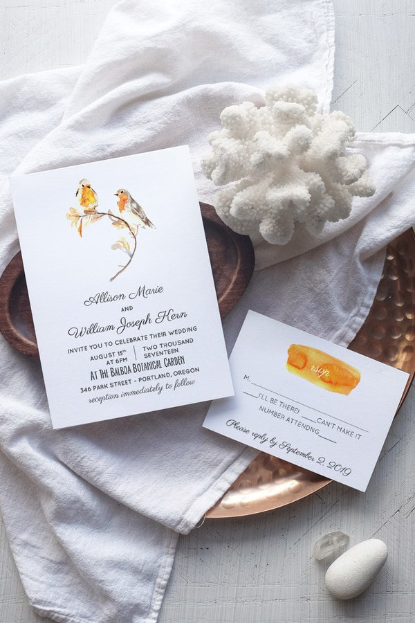 DIY Rustic Love Bird Wedding Invitation Template - Heartsong - by alchemiepress.com