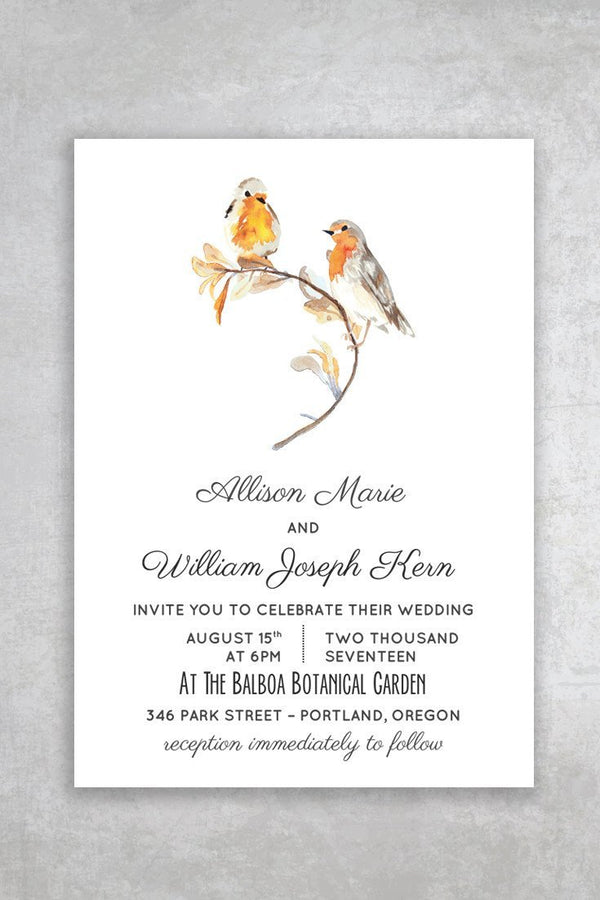 Budget Friendly Bird Printable Wedding Invitation - Heartsong  Lovebirds - by alchemiepress.com