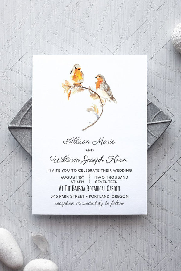 Printable Rustic Bird Wedding Invitation Template - Heartsong - by alchemiepress.com