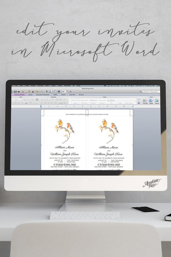 Microsoft Word Bird Invitation Template - Heartsong - by alchemiepress.com