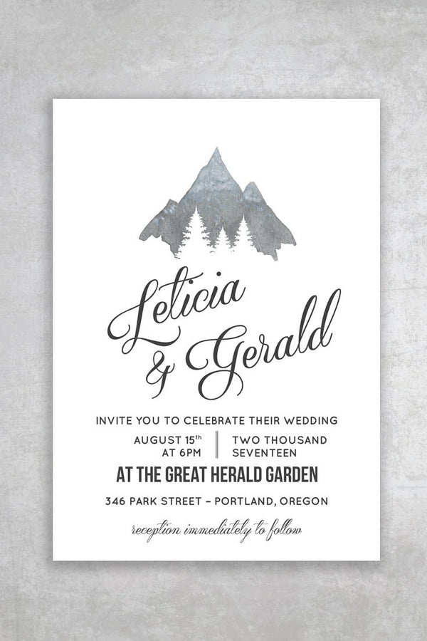 Budget Friendly Printable Wedding Invitation - Montaña - by alchemiepress.com