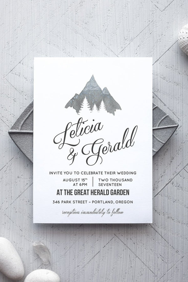 Printable Rustic Wedding Invitation Template - Montaña - by alchemiepress.com