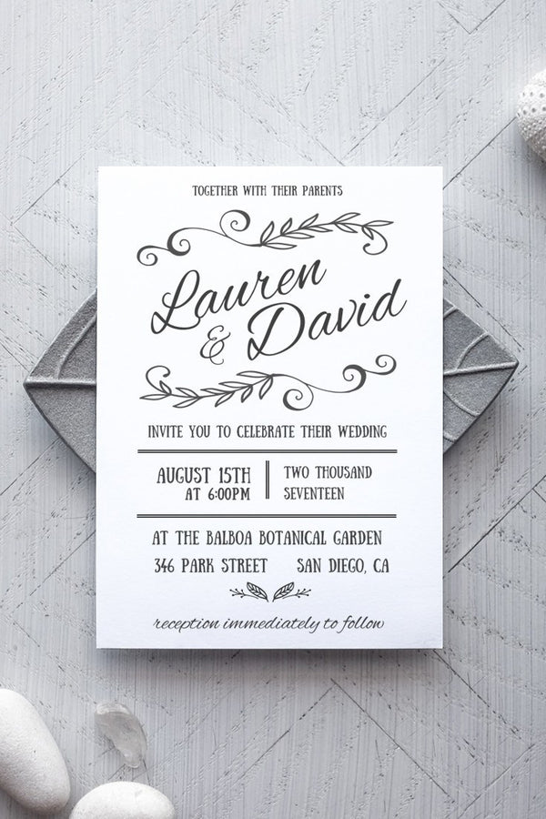 Printable Blue Wedding Invitation Template - Rustica - by alchemiepress.com