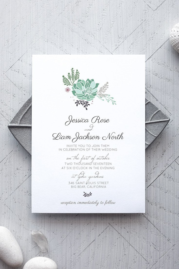 Printable Rustic Wedding Invitation Template   Succulent   By  Alchemiepress.com