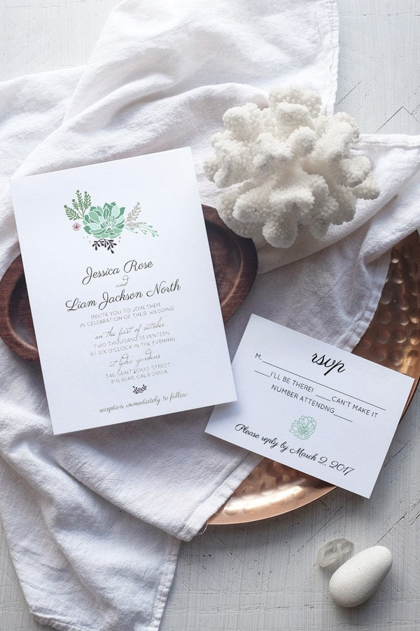 DIY Succulent Wedding Invitation Template - Rustica - by alchemiepress.com