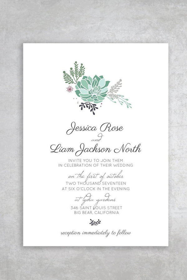 Budget Friendly Printable Wedding Invitation - Succulent - by alchemiepress.com