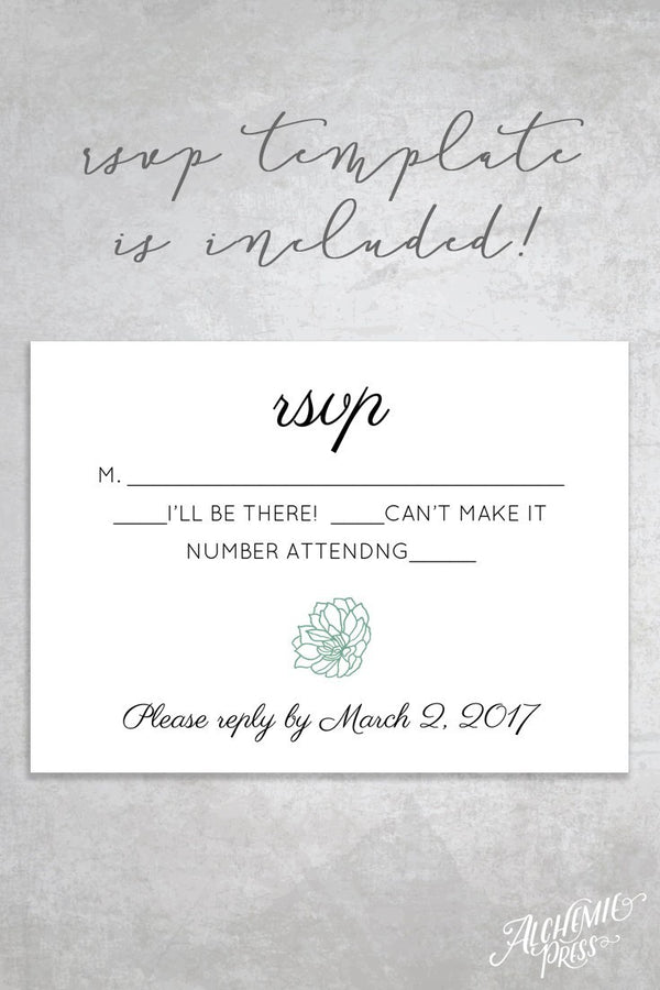 Invitation - Succulent Printable Wedding Invitation
