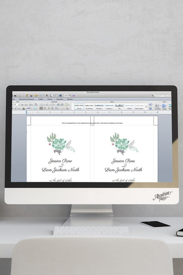 Microsoft Word Succulent InvitationTemplate - Succulent- by alchemiepress.com