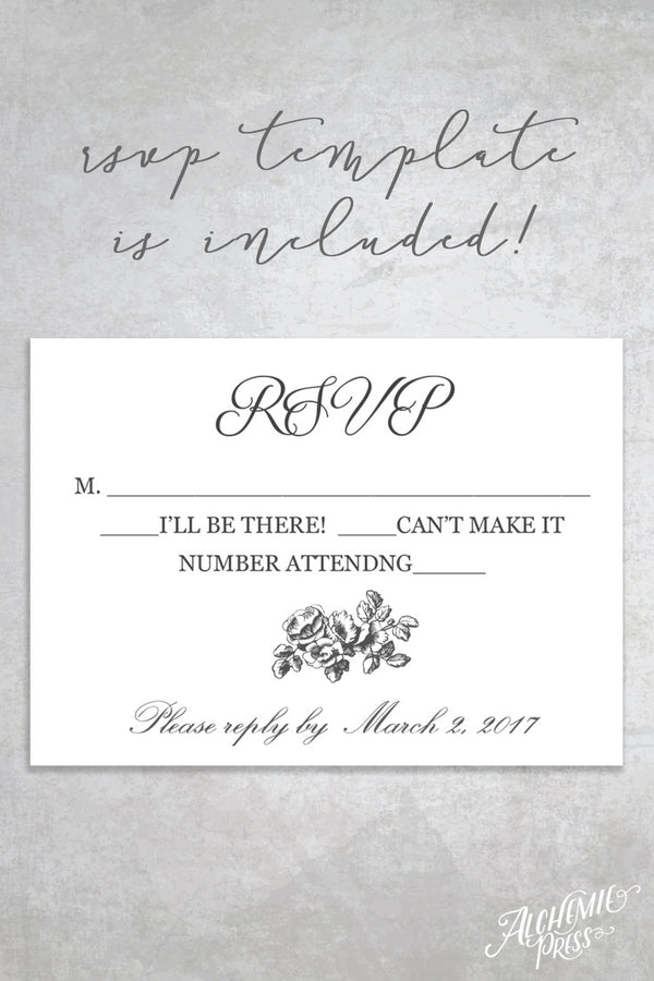 La Fleur Printable Wedding Invitation