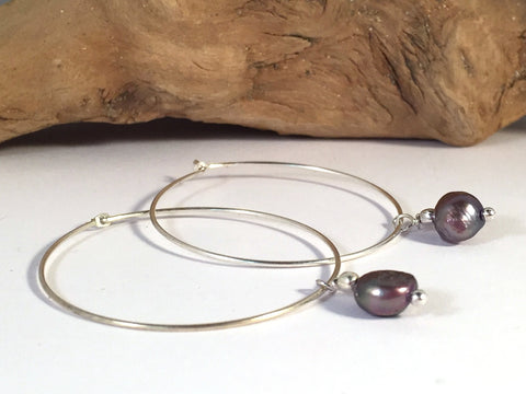 Grey Freshwater Pearl Charm Hoop EARRINGS on Silver Metal Hoops - Vilda Fashion Jewellery - 2