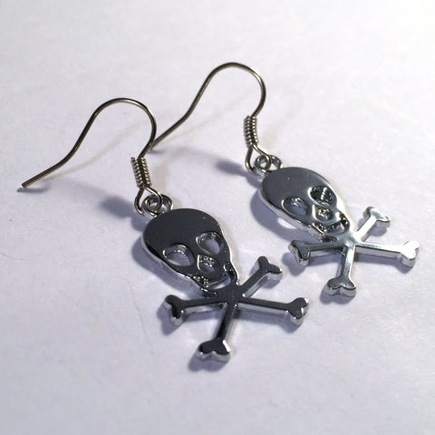 SKULL EARRINGS Silver Colour Surgical Steel Nickelfree Hooks - Vilda Fashion Jewellery - 2