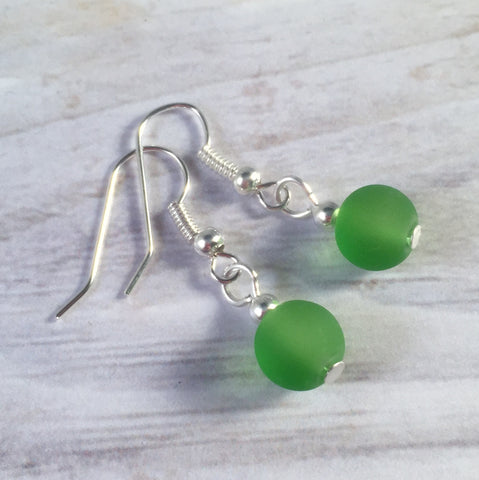 GREEN Frosted Glass Bead Earrings on Nickelfree Silver Tone Hooks - Vilda Fashion Jewellery - 2