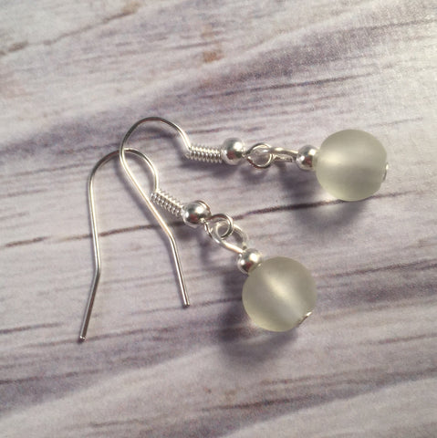 WHITE Frosted Glass Bead Earrings on Nickelfree Silver Tone Hooks - Vilda Fashion Jewellery - 2