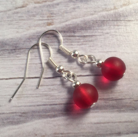 RED Frosted Glass Bead Earrings on Nickelfree Silver Tone Hooks - Vilda Fashion Jewellery - 2