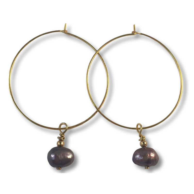 Grey Freshwater Pearl Charm Hoop EARRINGS on Gold Metal Hoops - Vilda Fashion Jewellery - 1