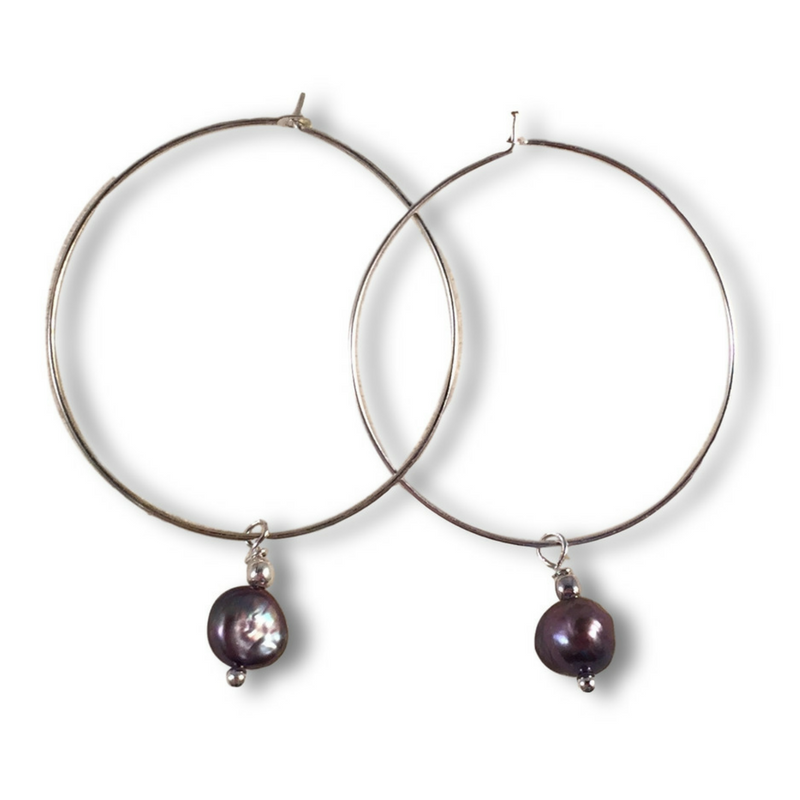 Grey Freshwater Pearl Charm Hoop EARRINGS on Silver Metal Hoops - Vilda Fashion Jewellery - 1