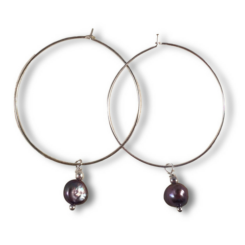 Grey Freshwater Pearl Charm Hoop EARRINGS on Silver Metal Hoops