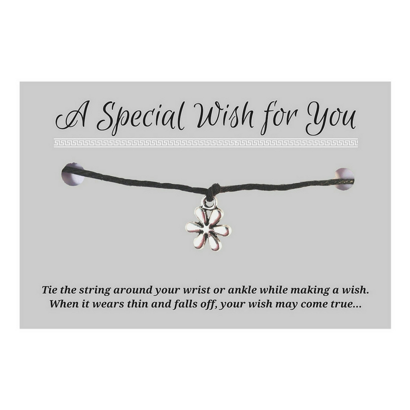 Daisy Flower Charm WISH BRACELET/ ANKLET 14 Colours Hemp with Silver Tone Charm - Vilda Fashion Jewellery - 1