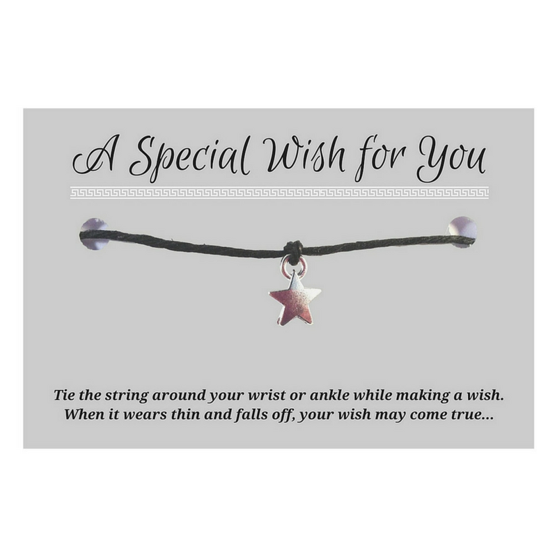 Dangly Star Charm WISH BRACELET/ ANKLET 14 Colours Hemp with Silver Tone Charm - Vilda Fashion Jewellery - 1