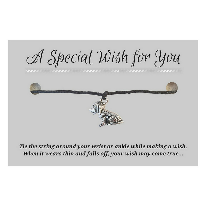 Dog Charm WISH BRACELET/ Anklet 14 Colours Hemp with Silver Tone Charm Doggy Pet Lover - Vilda Fashion Jewellery - 1
