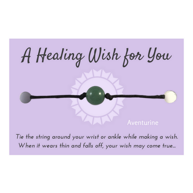 Green Aventurine Bead Healing WISH BRACELET/ ANKLET Black Hemp - Vilda Fashion Jewellery - 1