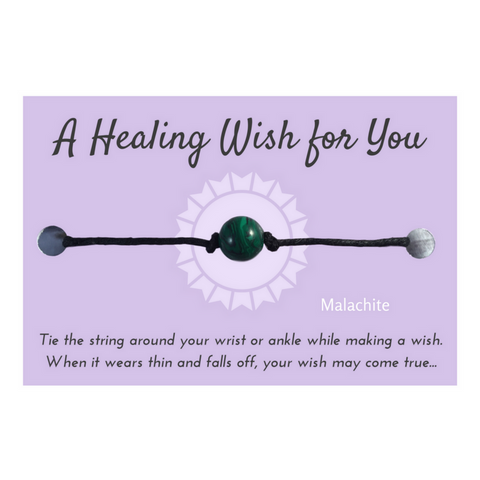 Malachite Bead Healing WISH BRACELET/ ANKLET Black Hemp - Vilda Fashion Jewellery - 1