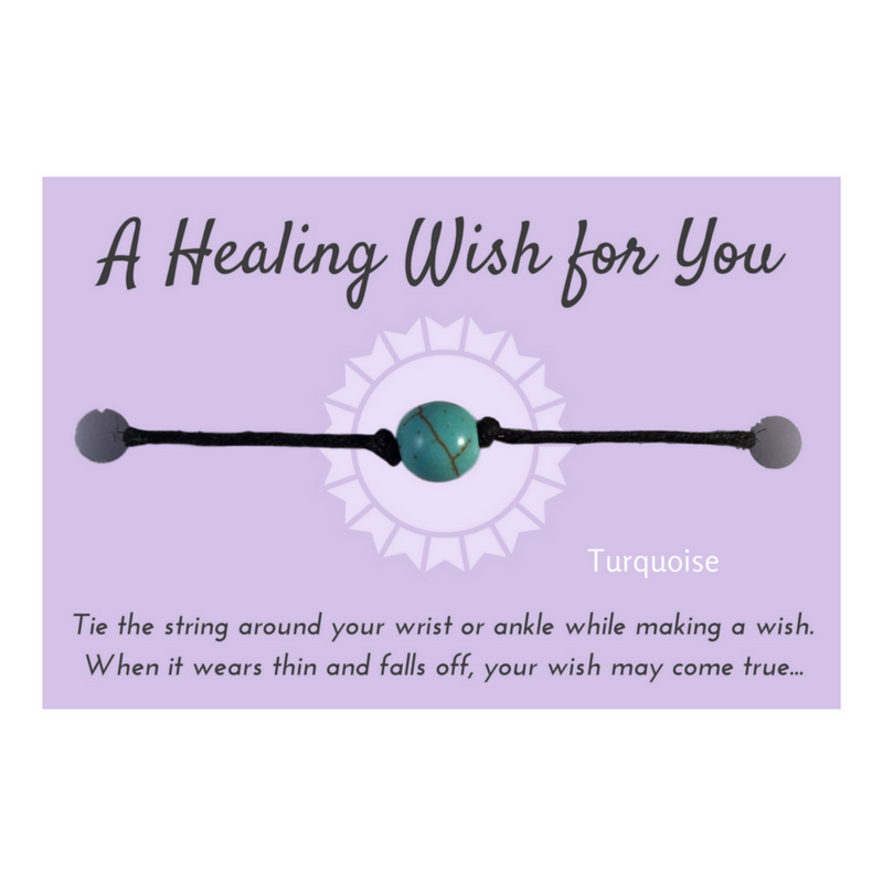 Turquoise Bead Healing WISH BRACELET/ ANKLET Black Hemp - Vilda Fashion Jewellery - 1