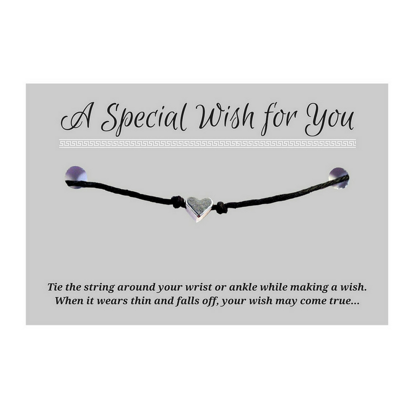 Small Heart Charm WISH BRACELET/ ANKLET 14 Colours Hemp with Silver Tone Charm - Vilda Fashion Jewellery - 1