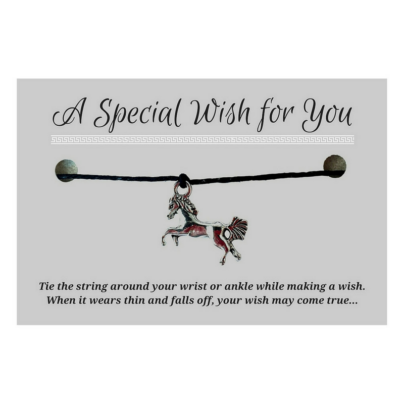 Horse Charm WISH BRACELET/ ANKLET 14 Colours Hemp with Silver Tone Charm Friendship - Vilda Fashion Jewellery - 1