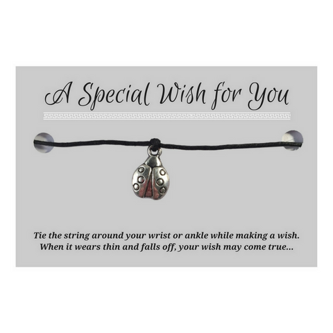 Ladybird Charm WISH BRACELET/ ANKLET 14 Colours Hemp with Silver Tone Charm